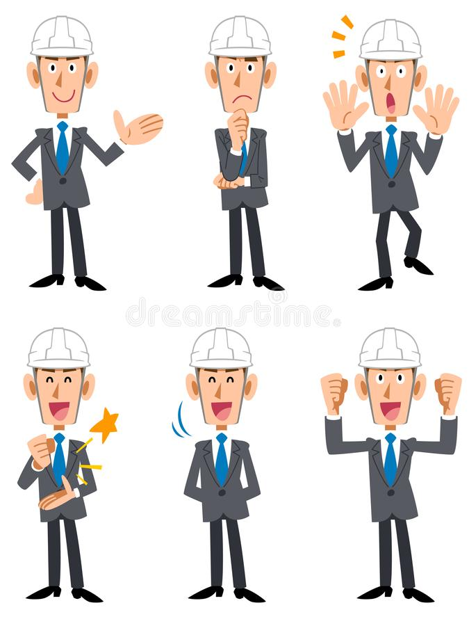 Male building site with helmet suits. The image of a Male building site with helmet suits stock illustration