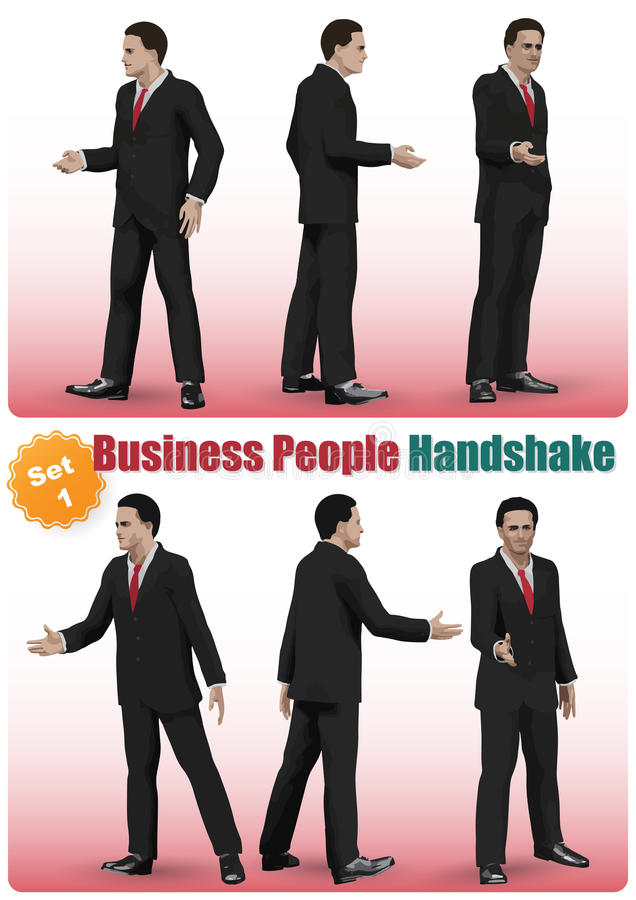 Male Business People Handshake Set. Realistic characters Set of business people shaking hands in a pose royalty free illustration