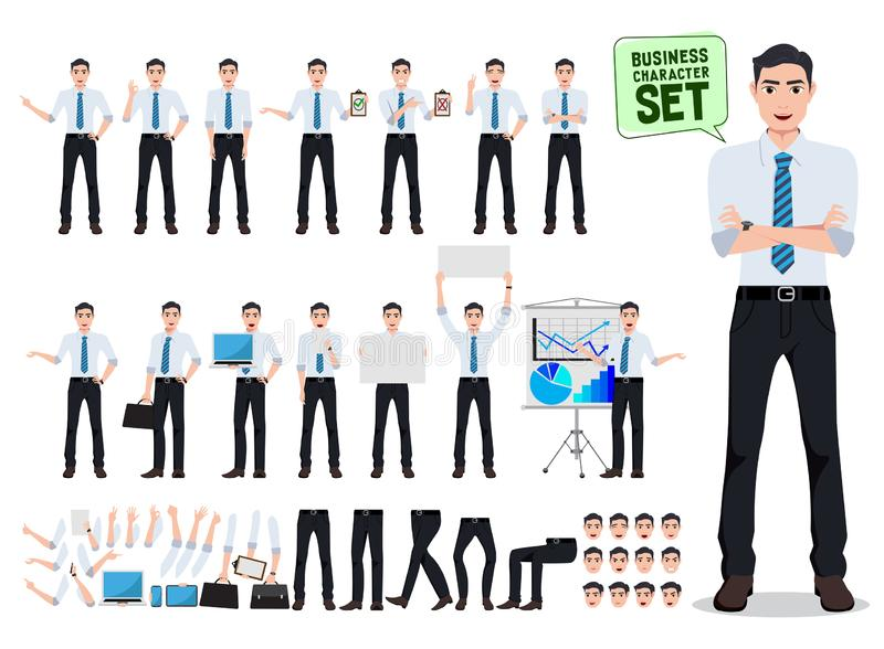 Male business person vector character creation set with office man talking. In different gestures and postures for business presentation isolated in white stock illustration