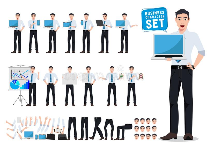 Male business person vector character creation set with young professional man holding laptop vector illustration