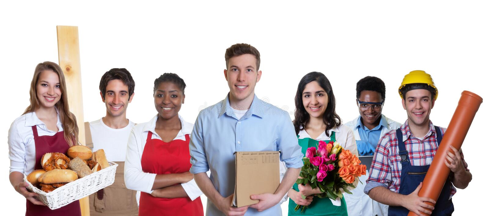 Male business trainee with group of apprentices stock image