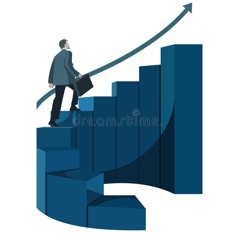 Male businessman with briefcase climbing stairs. Infographics vector illustration