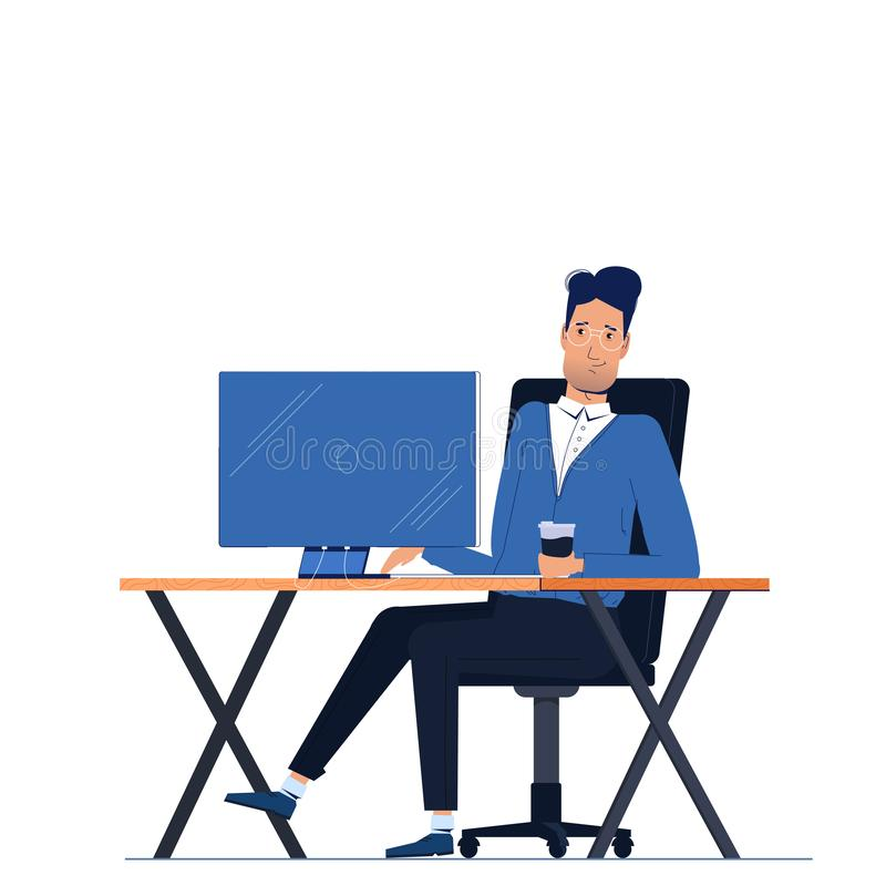 Male businessman character sitting in office behind workplace on computer monitor desk stock illustration