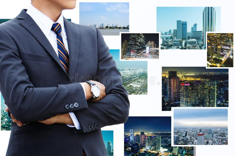 businessman and cities and technology. royalty free stock photos