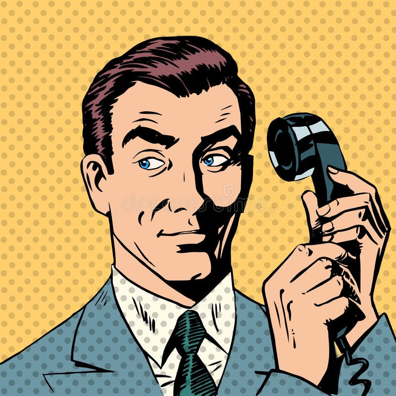 Male businessman talking on the phone style pop vector illustration