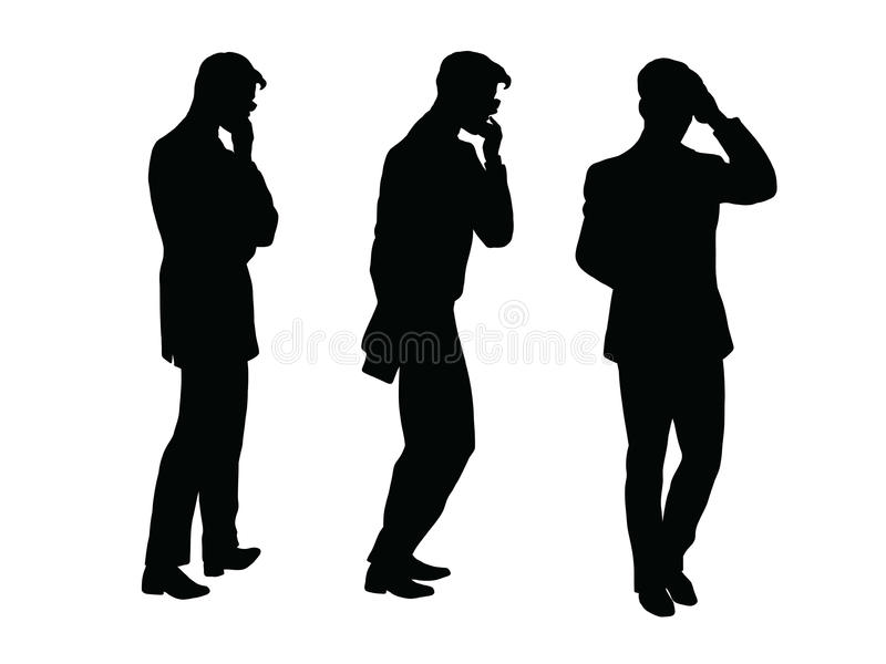Male businessman thinks goes black silhouette figure vector illustration