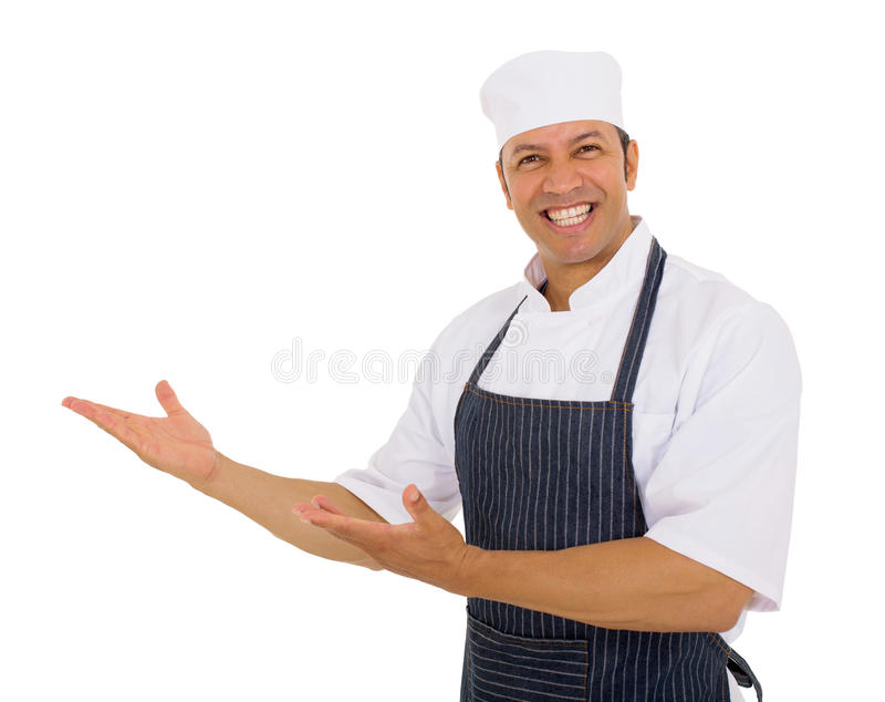 Male butcher welcoming royalty free stock image