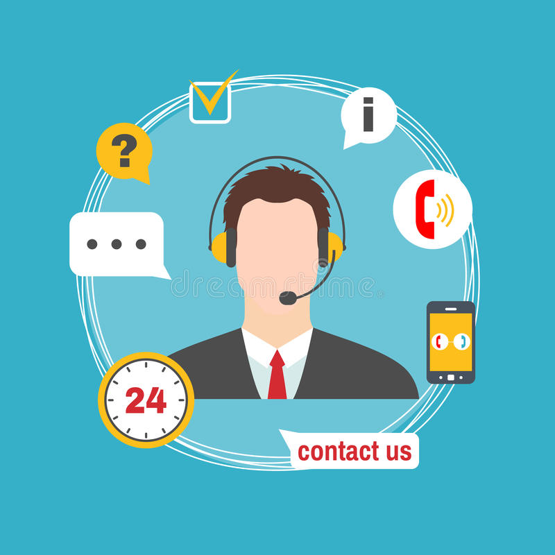 Male Call Center Avatar Icon With Service Icons. Stock