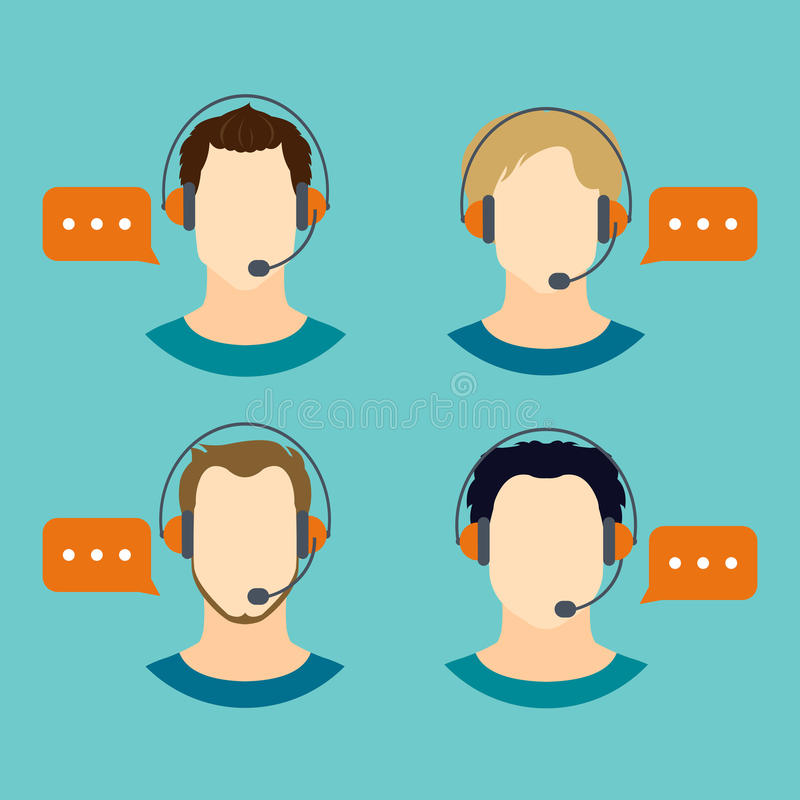 Male Call Center Avatar Icons Stock Vector