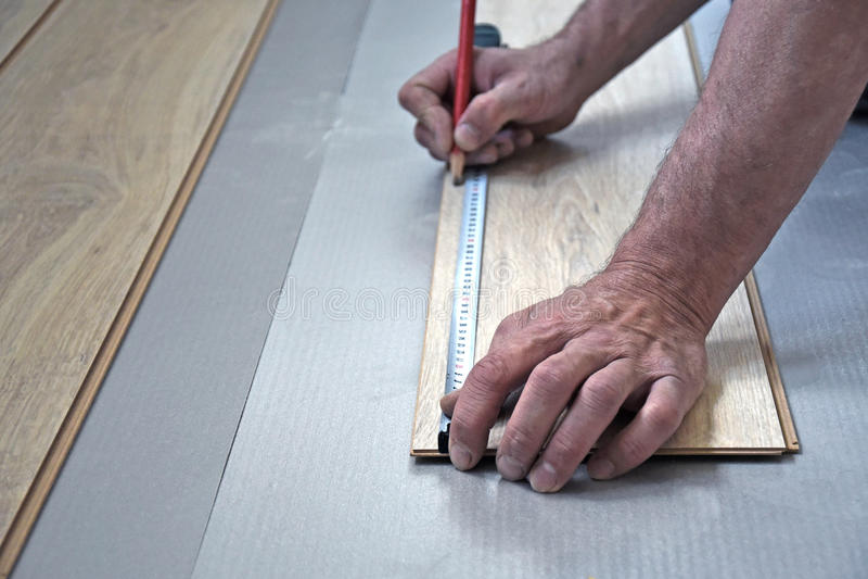 Male carpenter puts the laminate stock photo
