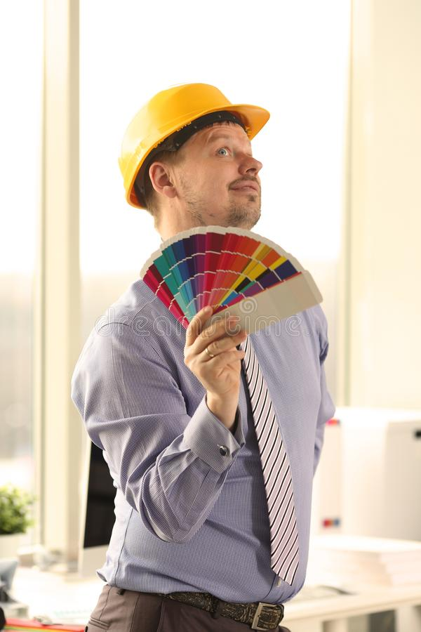 Male Caucasian Decorator Holding Colour Swatches royalty free stock photos