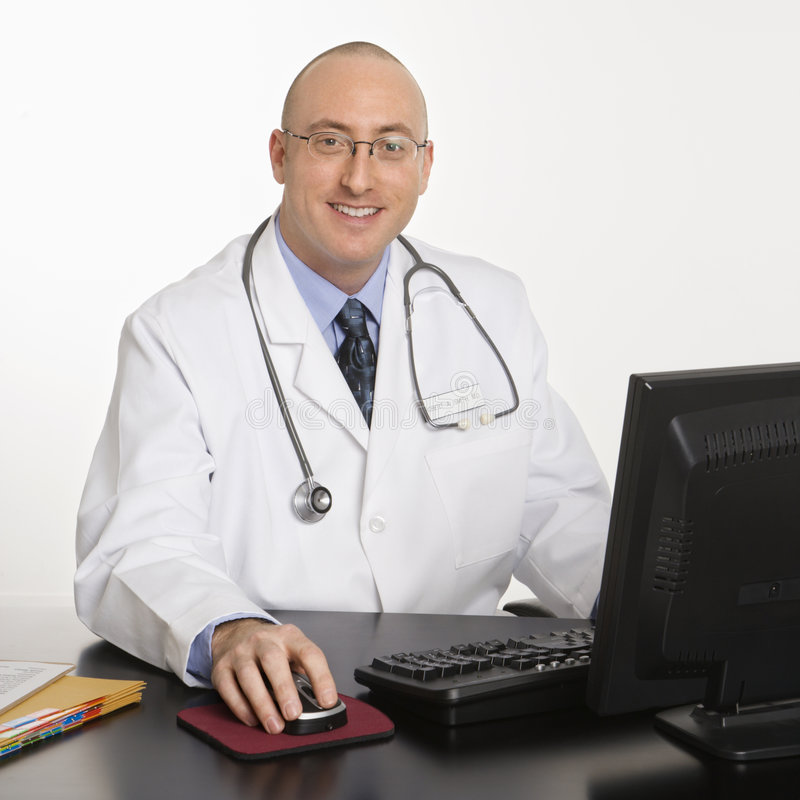 Male Caucasian doctor. stock images