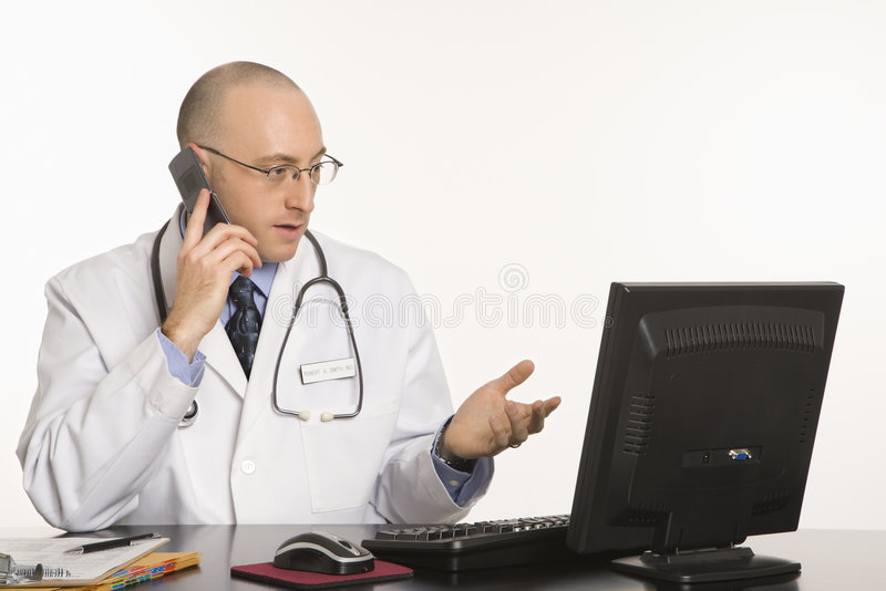 Male Caucasian doctor. stock photo