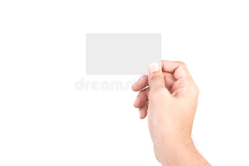 Male Caucasian hand gestures isolated over the white background. HAND Holding CARD stock image