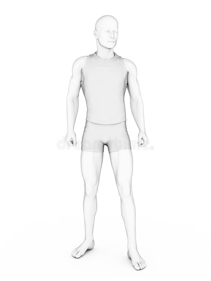 Male character. 3d rendered character standing/posing around royalty free illustration