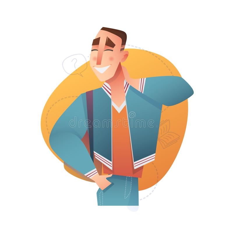 Male character in cartoon flat style. Vector people education. Male character in cartoon flat style. Emotion. Vector people education vector illustration