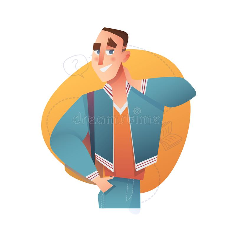 Male character in cartoon flat style. Vector people education stock image