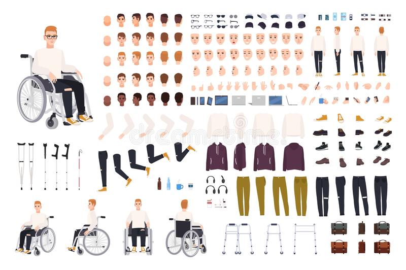 Male character with physical disability sitting in wheelchair creation set or constructor. Set of disabled man body. Parts, gestures, clothing isolated on white stock illustration