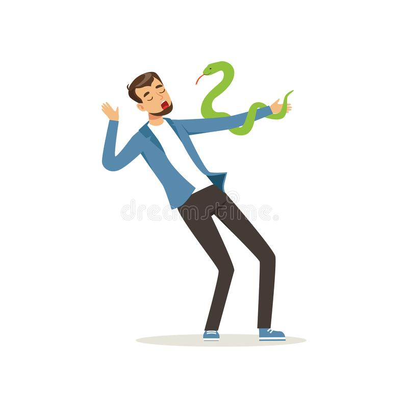 Male character with serpent pet on his hand. Young man with exotic snake. Carnivorous reptile. Bearded guy in blue vector illustration