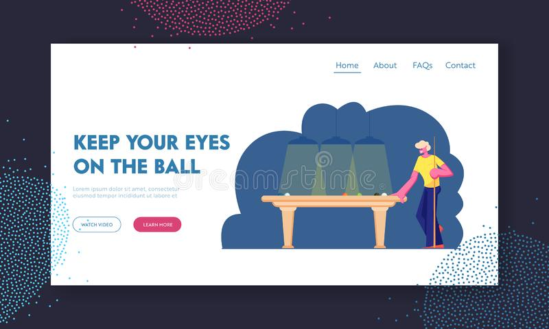 Male Character Stand with Cue at Billiard Table with Balls, Man Playing Snooker Game, Club, Weekend Leisure, Hobby, Spare Time. Website Landing Page, Web Page royalty free illustration