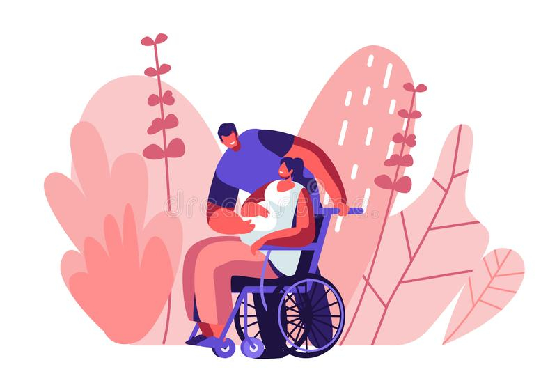 Male Character Touching Belly of Disabled Pregnant Woman Sitting on Wheelchair. Happy Family Relations, Pregnancy, Loving People. Awaiting Baby. Invalid Girl stock illustration