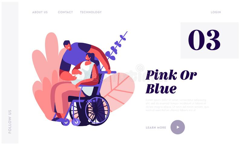 Male Character Touching Belly of Disabled Pregnant Woman on Wheelchair. Happy Family Relations, Pregnancy, People Awaiting Baby. Website Landing Page, Web Page stock illustration