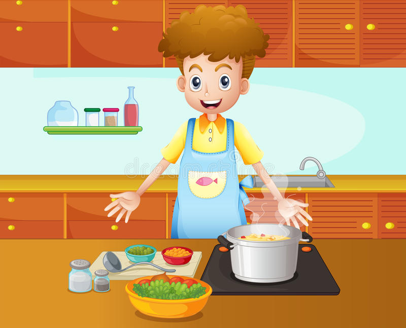 Download A Male Chef Cooking In The Kitchen Stock Vector - Image: 32941305