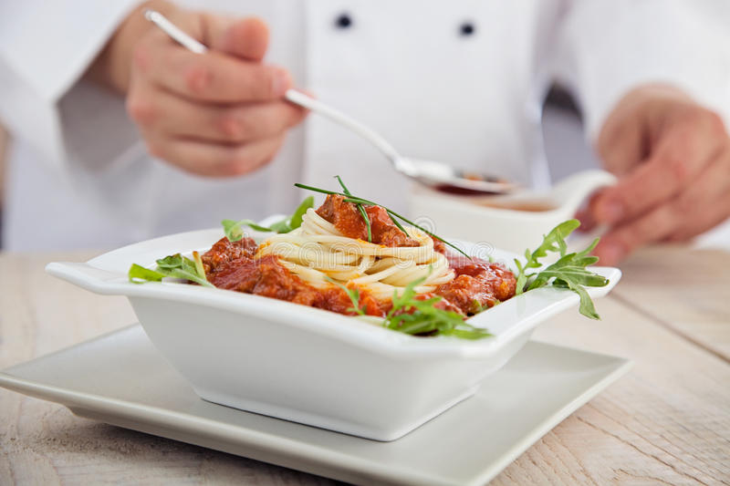 Male chef in restaurant stock photos