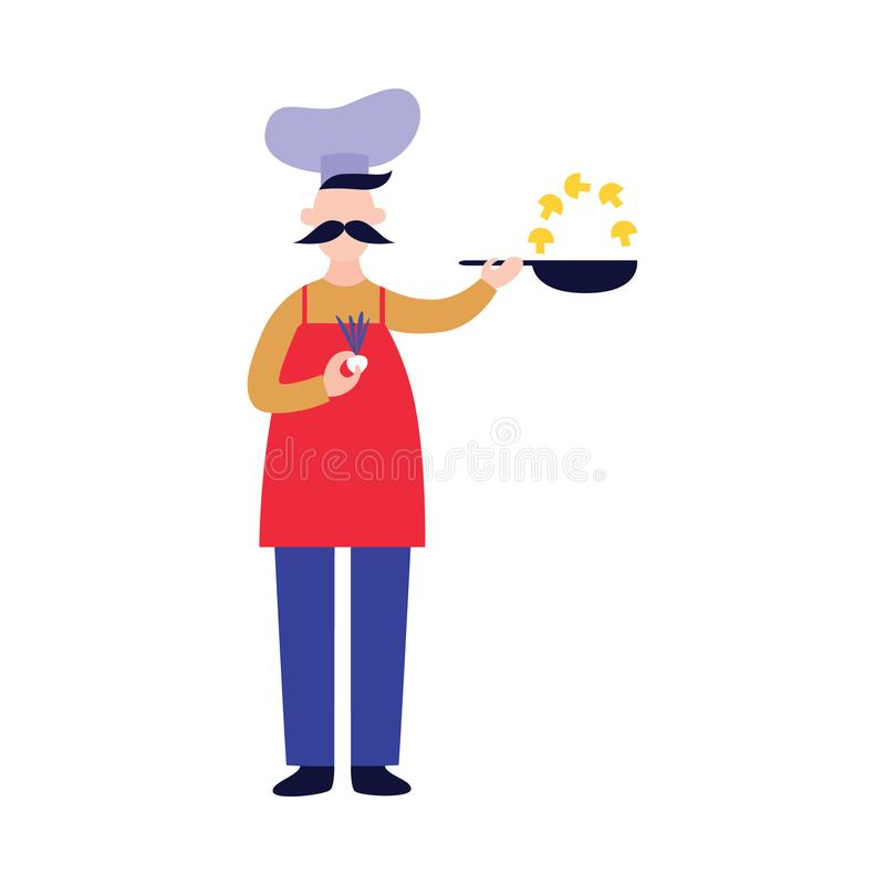 Male chef stands and holds pan while frying mushrooms flat cartoon style stock illustration