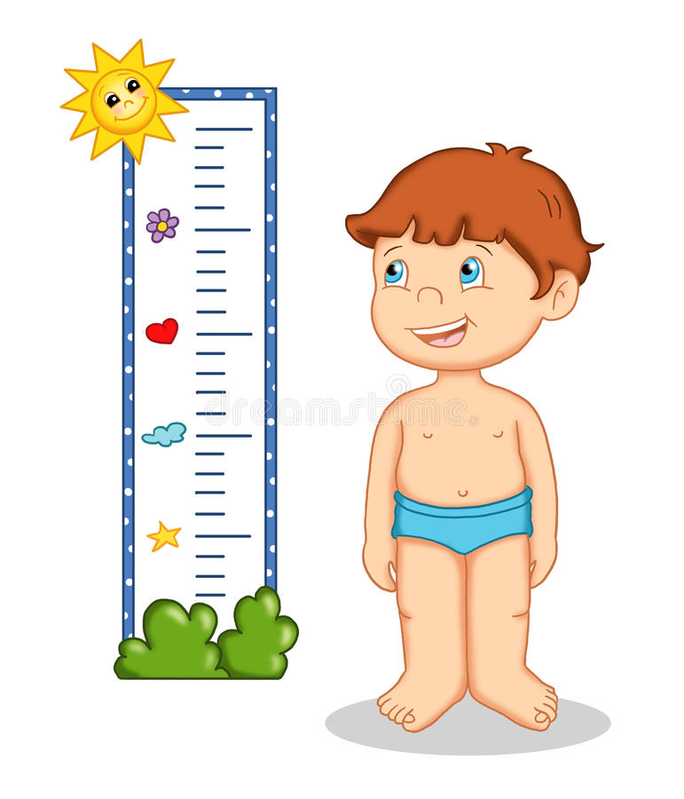 Male child and measures vector illustration