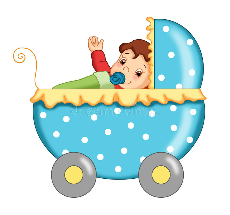 Male child with the stroller. Illustration of a little male child inside the stroller vector illustration