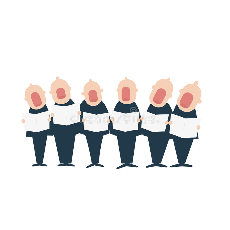 Male chorus in action. Vector illustration isolated on white background royalty free illustration
