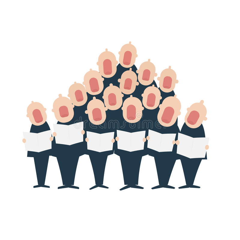 Male chorus in action. Vector illustration isolated on white background stock illustration