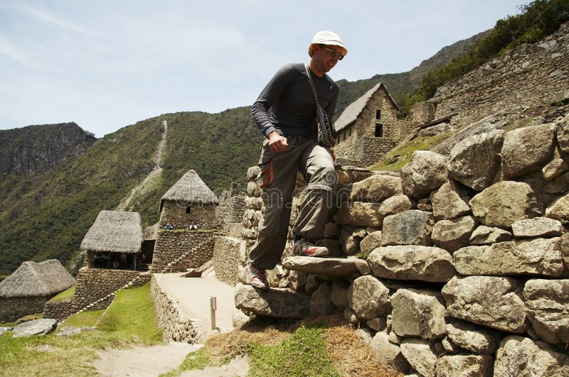 Male in the city Machu-picchu stock photos