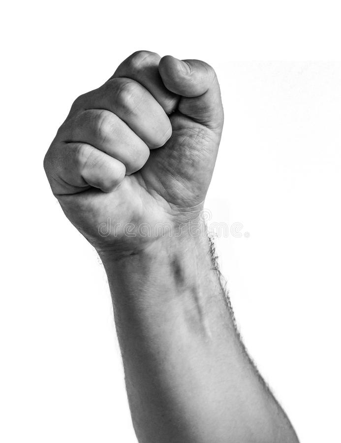 Male clenched fist, isolated on a white background.  royalty free stock image