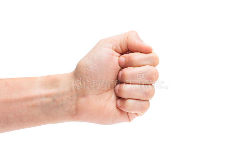 Male clenched fist, isolated on a white background. Man hand with a fist stock photos
