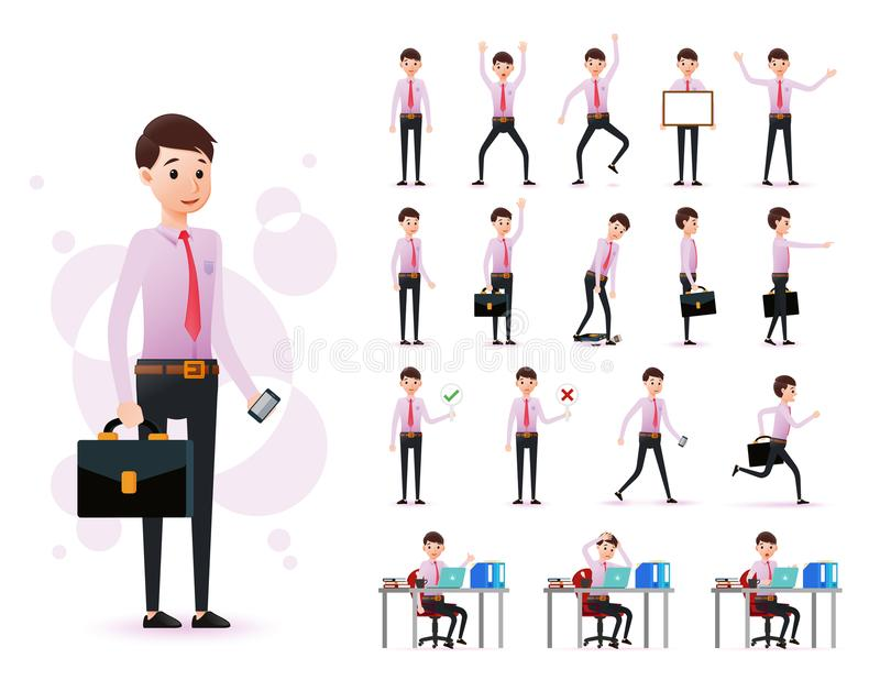 Male Clerk 2D Character Ready to Use Set Wearing Long Sleeve and Tie Standing. And Sitting Position with Different Facial Expression in White Background. Vector stock illustration
