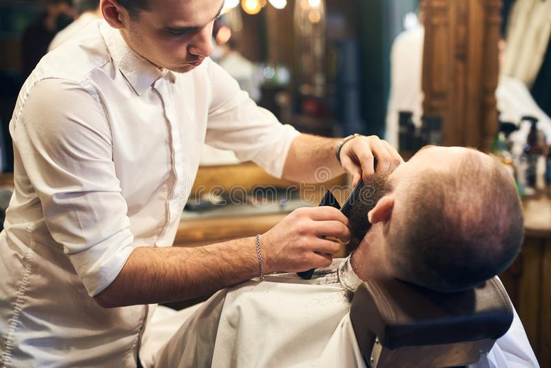 Male client with beard sitting in hairdresser chair. Serious man with long brown beard. Modern popular lumberjack style. Young barber occupied with combing out stock photography