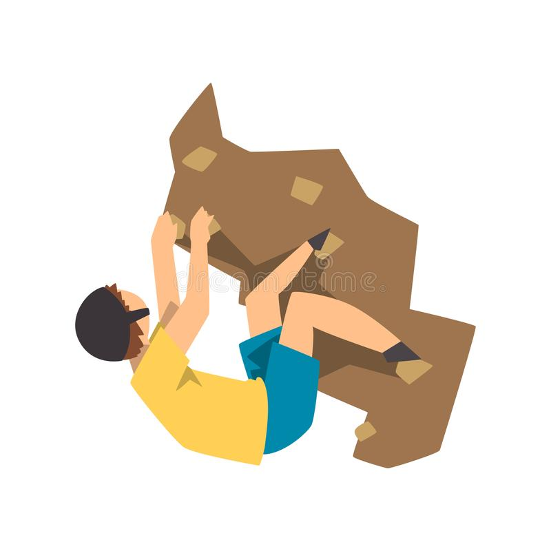 Male climber climbing rock mountain, mountaineering, extreme sport and leisure activity concept vector Illustration on a. Male climber climbing rock mountain vector illustration