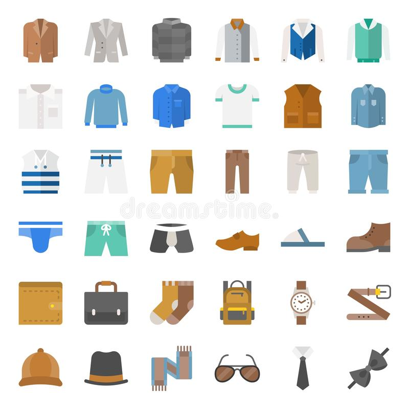 Male clothes and accessories flat icon set 1. Male clothes and accessories flat vector icon set 1 stock illustration