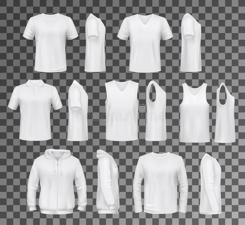 Male clothes isolated tops, shirts and hoodie. T-shirt templates, hoodie and sweatshirt, polo and singlet or sleeveless shirt. Vector male clothes white mockups vector illustration