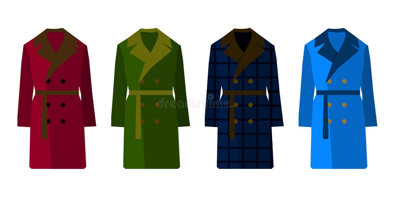 Male coat set different color. Flat design Vector royalty free illustration