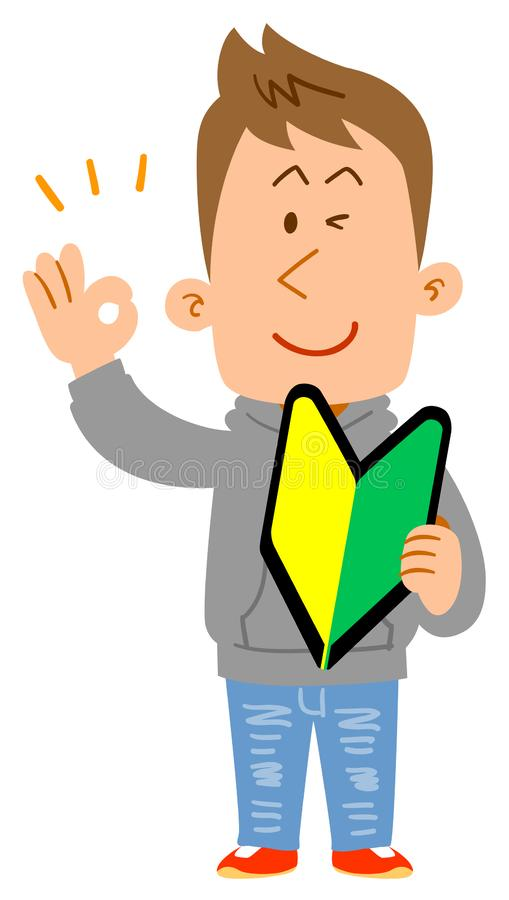 Male college student who has a beginner`s mark and gives an OK sign stock illustration