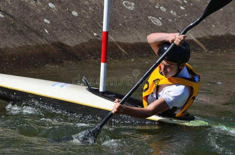 Male Competitor Kayak royalty free stock photo