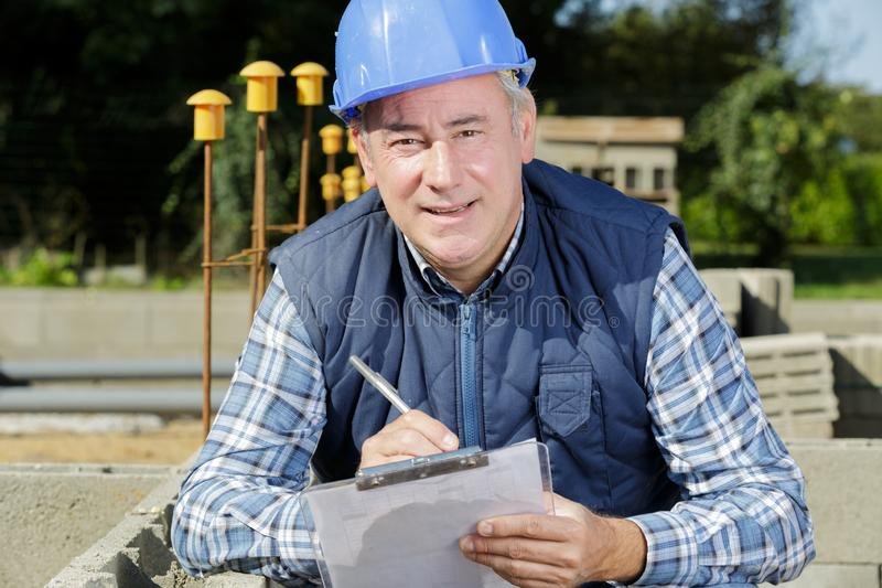Male construction engineer outdoors stock photo