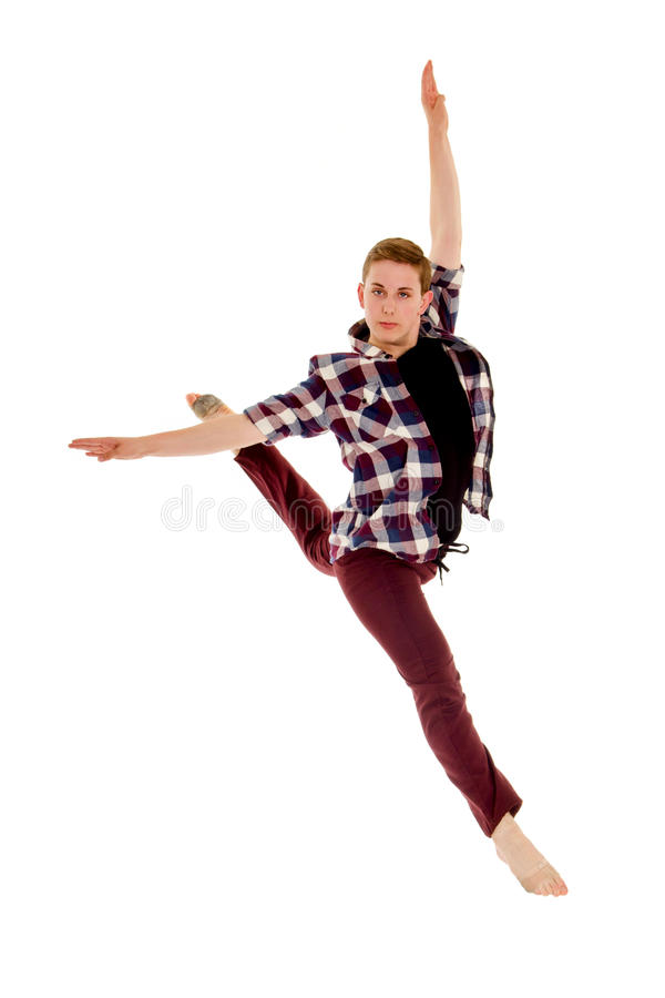 Free Male Contemporary Lyrical Dancer In Flying Leap Royalty Free Stock Photography - 61324947