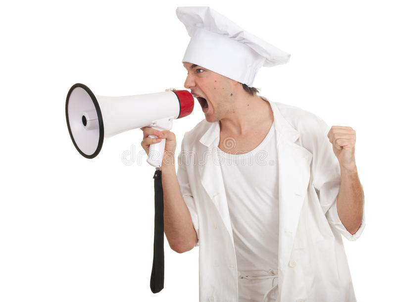 Download Male cook with megaphone stock image. Image of pretty - 17716387