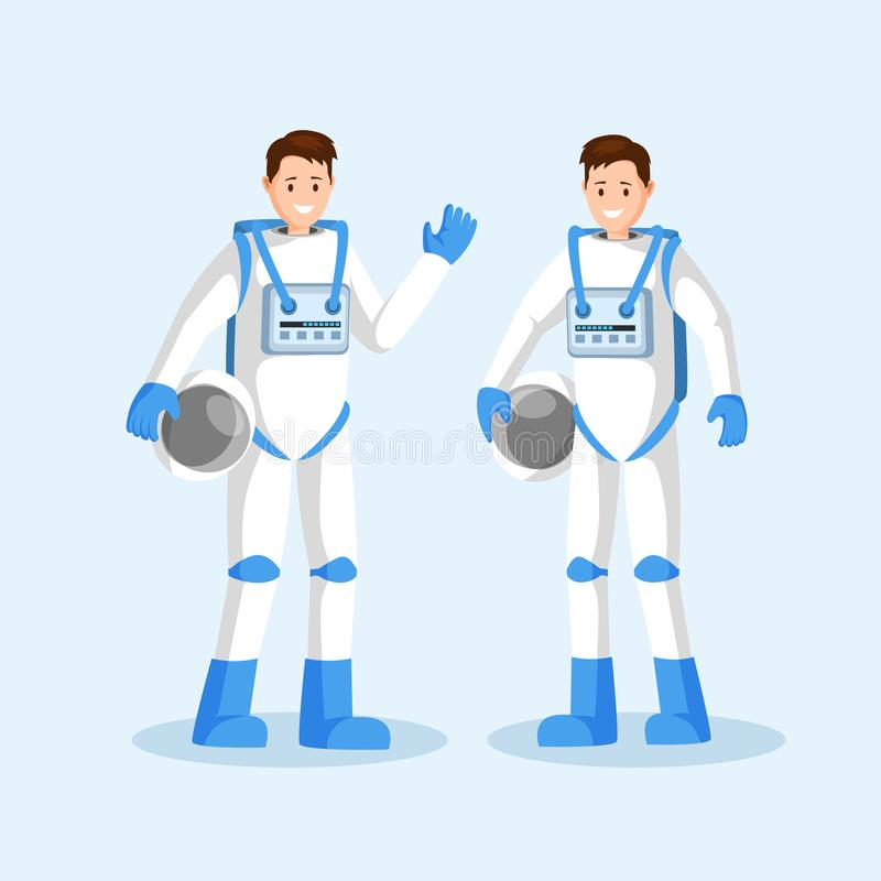 Male cosmonauts flat vector illustration. Smiling astronauts team, two men in spacesuits waving hand and holding helmets. Cartoon characters. Space mission stock illustration