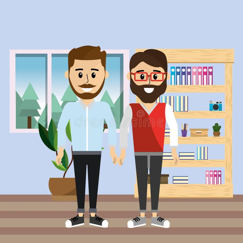 Male coworkers at home office vector illustration