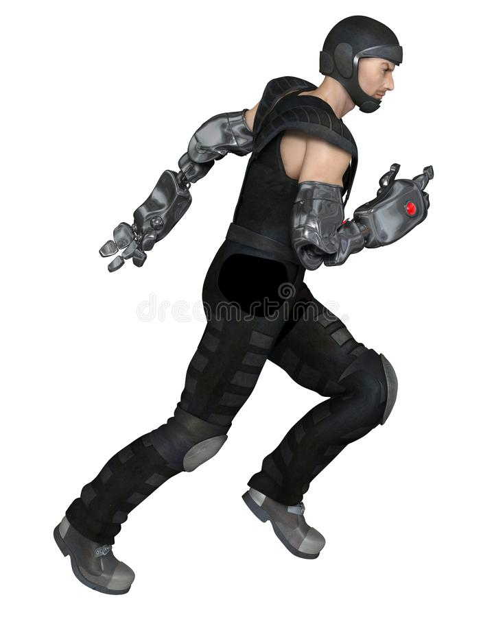 Male Cyber Soldier Running to Attack royalty free illustration